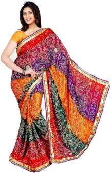 Saree Sarovar Printed Bandhej Crepe Sari