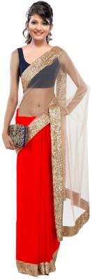Fabulous Self Design Fashion Georgette Sari (Red)