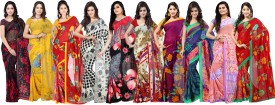 Ambaji Polka Print, Printed, Floral Print Daily Wear Georgette Sari Pack Of 10