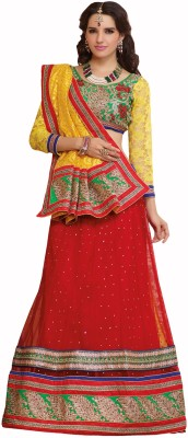 Admyrin Self Design Lehenga Saree Net, Cotton, Brasso Sari available at Flipkart for Rs.2780