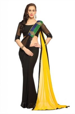 Designersareez Self Design Embroidered Embellished Georgette Sari