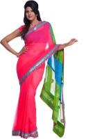 Cbazaar Floral Print Embroidered Embellished Chiffon Sari