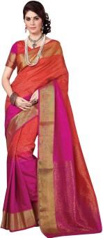Rajshri Fashions Plain Banarasi Silk, Art Silk, Banarasi Silk Sari Red, Pink