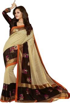 Kajal Sarees Floral Print Mysore Poly Silk Sari