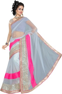 Bollywood Saree Nj Fabric Self Design Bollywood Net Sari (Grey)