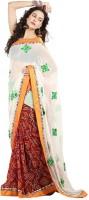 Cbazaar Floral Print Embroidered Embellished Georgette, Chiffon Sari