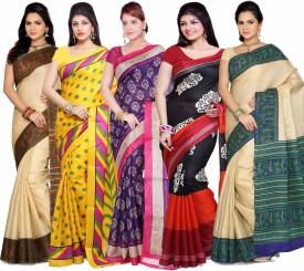 Ishin Solid Fashion Art Silk Sari (Pack Of 5)