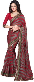 Bhavi Striped, Self Design Fashion Georgette Sari