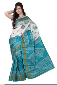 Shatabdi Geometric Print Ikkat Handloom Art Silk Sari