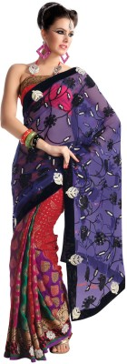 Fabdeal Printed Embroidered Embellished Net Sari available at Flipkart for Rs.7149