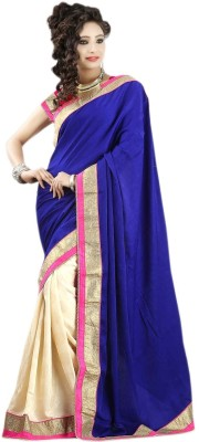 Fashion Hi-Fashion Solid Fashion Georgette Sari (Blue)