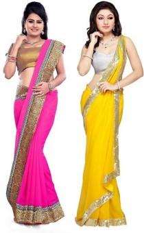 RockChin Fashions Embriodered, Plain Fashion Georgette, Georgette Sari Pack Of 2