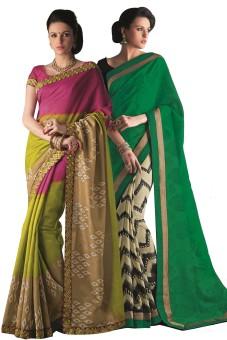 Aesha Printed Daily Wear Art Silk Sari (Pack Of 2)