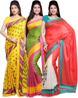 EthnicPark Printed Bhagalpuri Handloom Art Silk Sari Pack Of 3