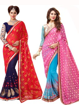Parisha Embriodered Daily Wear Georgette, Jacquard Sari Pack Of 2, Red, Blue, Pink, Blue