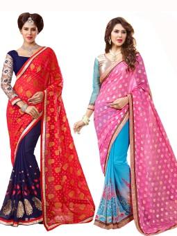 Parisha Embriodered Daily Wear Georgette, Jacquard Sari Pack Of 2, Red, Blue, Pink, Blue