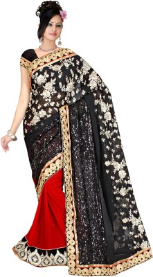 Alira Solid Bollywood Chiffon Sari (Multicolor)