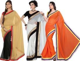 Silkbazar Self Design Fashion Chiffon Sari (Pack Of 3)