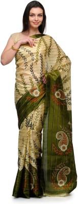 Studio Shubham Studio Shubham Floral Print Fashion Art Silk Sari (Beige\/Sand\/Tan)