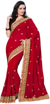 Fabdeal Printed Embroidered Embellished Net Sari available at Flipkart for Rs.5469