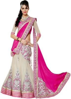 Indian E Fashion Embriodered Lehenga Saree Georgette, Net, Chiffon, Jacquard Sari