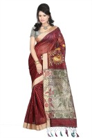 Parichay Self Design, Striped Embroidered Embellished Silk Sari