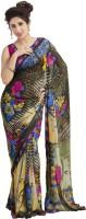 Sveekruti Floral Print, Geometric Print, Graphic Print, Printed, Self Design Embellished Georgette, Viscose Sari