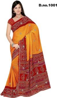 Elevate Women Printed Assam Silk Georgette Sari