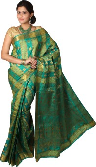 Mimosa Self Design Kanjivaram Handloom Art Silk Sari