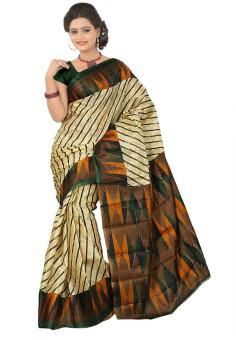 Moon Sarees Striped, Printed Ikkat Handloom Art Silk Sari