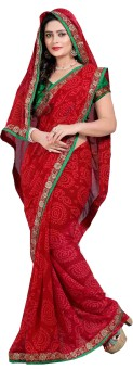 Oomph! Embriodered, Embellished, Printed, Floral Print Fashion Chiffon Sari Red