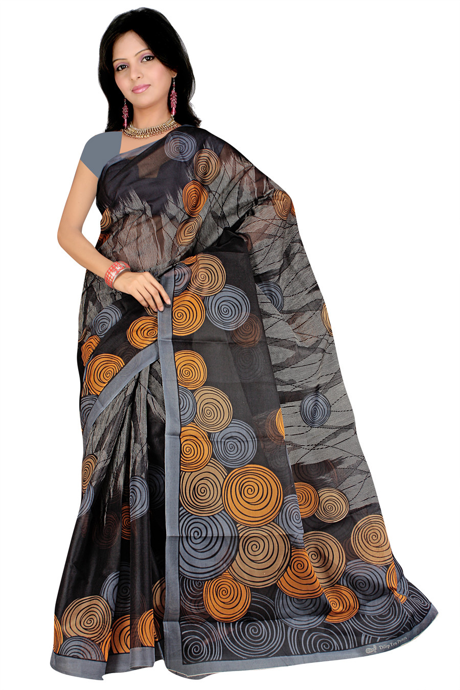 Pavechas Printed Mangalagiri Cotton Sari - Buy Black ...