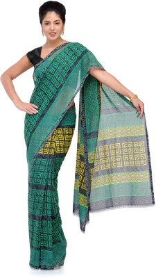 Studio Shubham Studio Shubham Geometric Print Fashion Georgette Sari (Green)