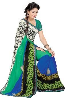 Shonaya Embriodered, Printed Fashion Georgette Sari