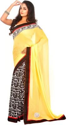 Fashion Estri Self Design Fashion Georgette Sari (Yellow)