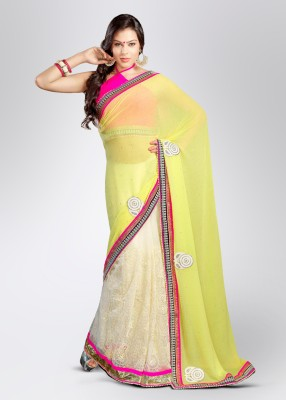 Soch Solid, Printed Embroidered Georgette, Net Sari