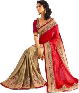 Sareeka Sarees Embriodered, Plain Bollywood Satin Sari