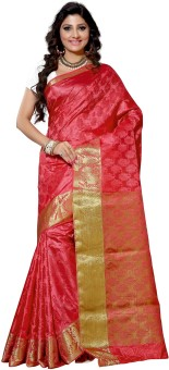 Alankrita Self Design Kanjivaram Silk, Art Silk, Jacquard, Brasso Sari Orange