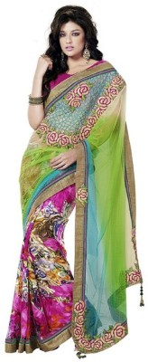 Vidya Fashion Vidya Fashion Self Design Fashion Net Sari (Multicolor)