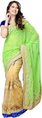 Fabdeal Solid Embroidered Embellished Chiffon, Net Sari available at Flipkart for Rs.6099