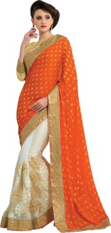 M.S.Retail Self Design Fashion Machine Crepe, Net Sari