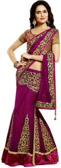 Shoppingover Self Design Lehenga Saree Net Sari