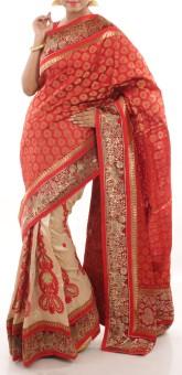 Creation Embriodered Chanderi Art Silk Sari