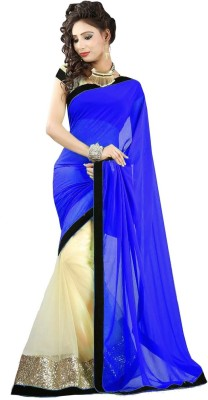Nj Fabric Solid Bollywood Georgette, Net Sari (Multicolor)