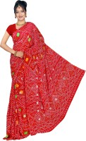 Arch Solid Embroidered Embellished Georgette Sari