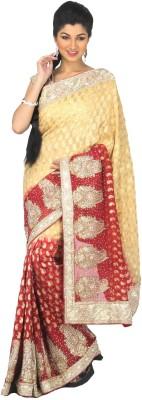 Fashion MJC Self Design Fashion Georgette Sari (Multicolor)