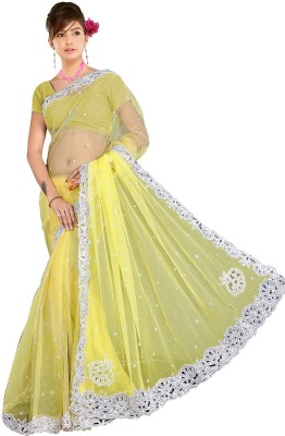 Aarti Saree Aarti Saree Self Design Fashion Handloom Net Sari (Yellow)