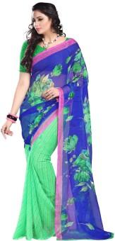 Ansh Prints Floral Print, Striped Bollywood Chiffon, Georgette Sari