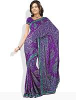 Dori Geometric Print, Floral Print Synthetic Sari