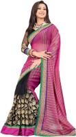 Bhavi Striped Embroidered Embellished Georgette Sari